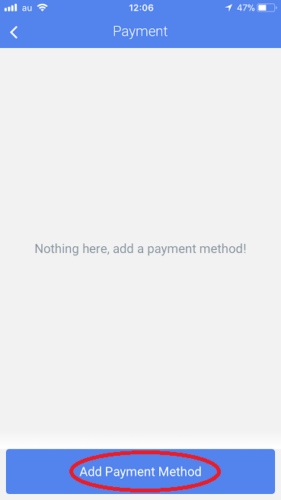 「Add Payment Method」をタッチ